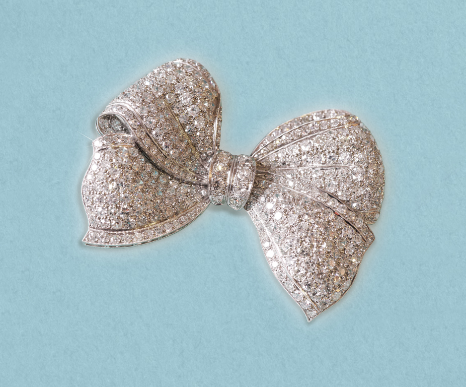 Art Deco diamond bow brooch