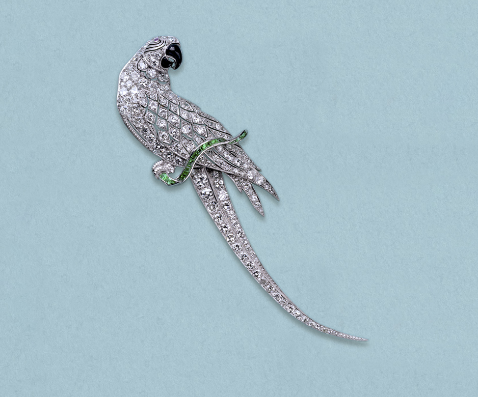 Art Deco diamond parrot brooch