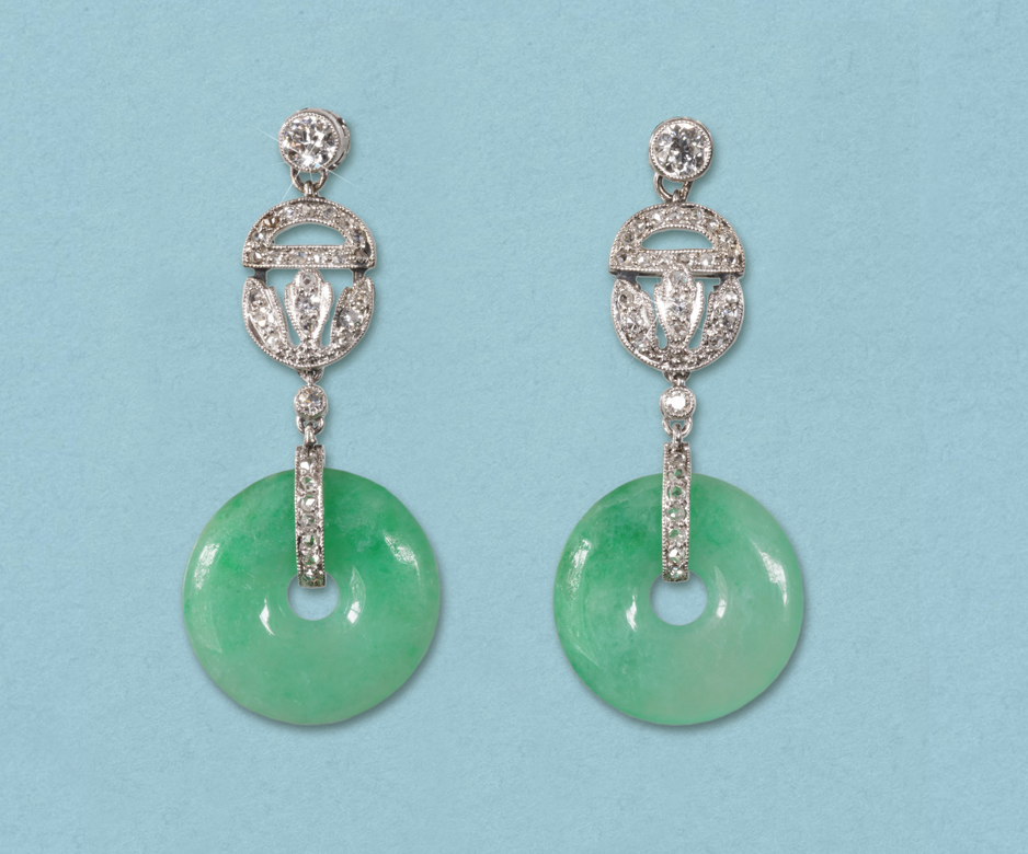Art Deco jade and diamond earrings