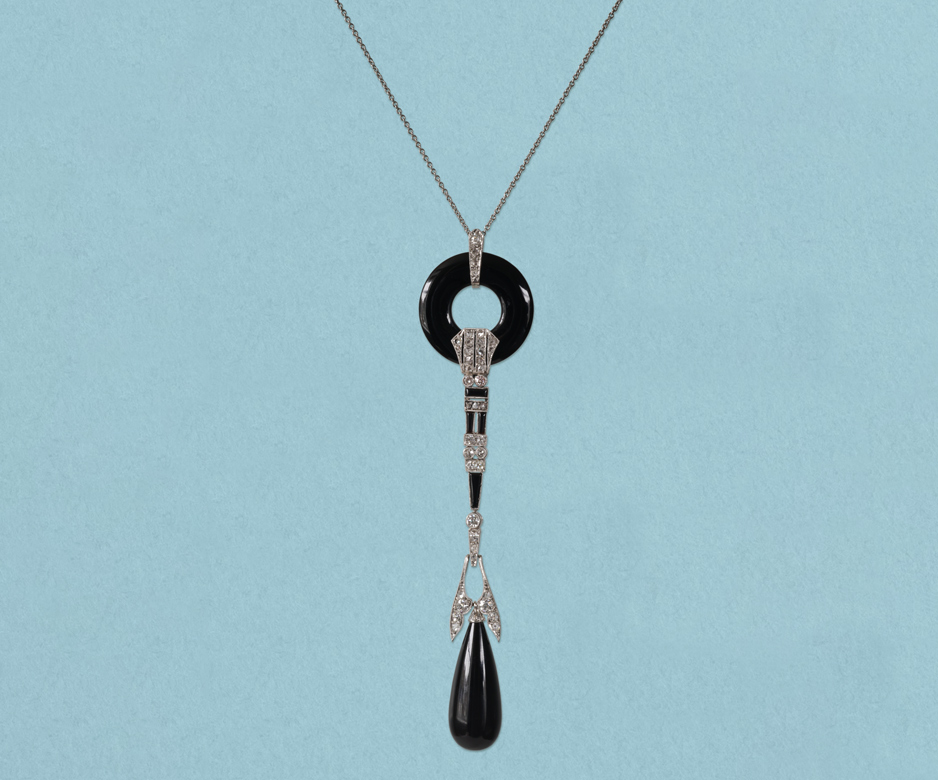 Art Deco onyx and diamond pendant