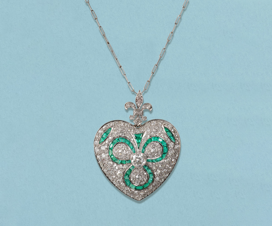 Art Deco emerald and diamond heart pendant