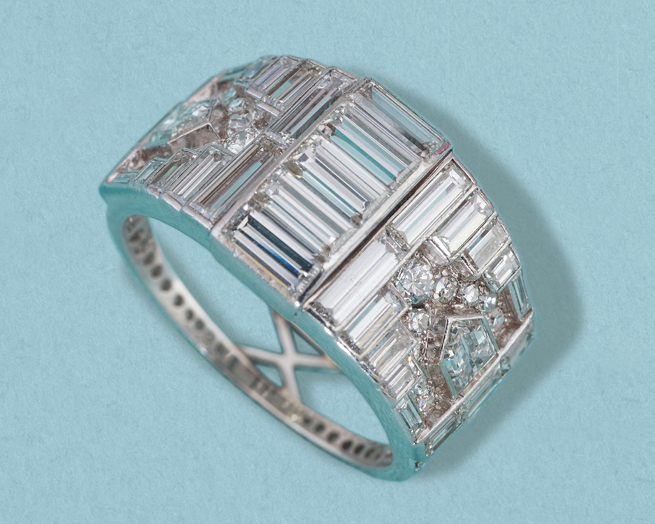 Art Deco multi cut diamond ring